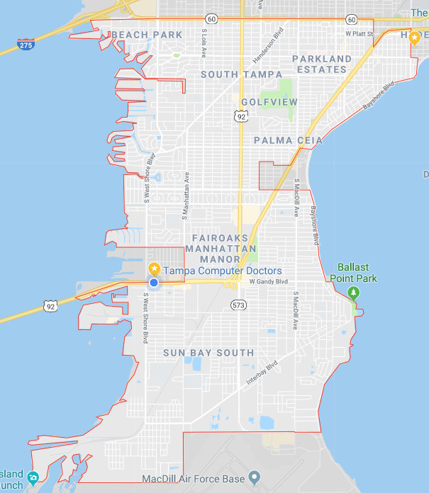 South Tampa Computer Repair near me tampa map
